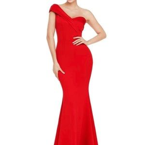 Dresses & Skirts - One Shoulder Foldover Fishtail Maxi Formal Dress